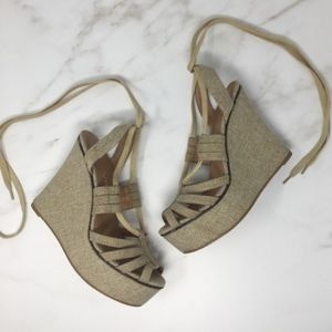 Jeffrey Campbell Solares Wedge Lace Up Sandals 9